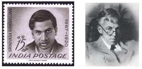 Left: Indian postage stamp issued in 1962, the 75th anniversary of Ramanujan's birth. RIght: G H Hardy.