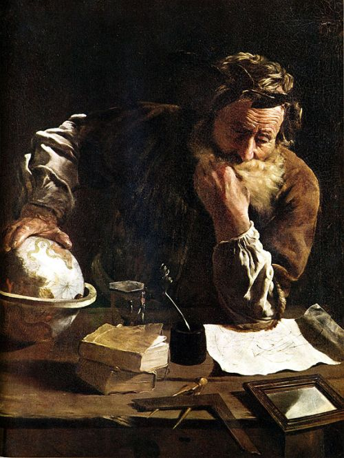Archimedes Thoughtful. Painting by Domenico Fetti (1588–1623). Wikimedia Commons.