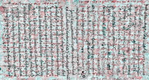 Page of the palimpsest showing older and more recent writing in orthogonal directions(from archimedespalimpsest.org)