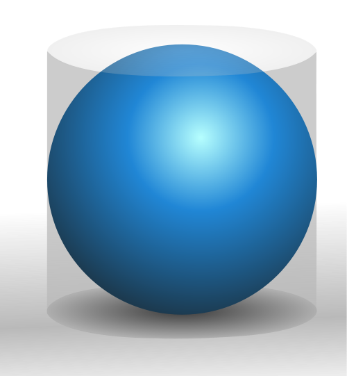Sphere embedded in cylinder. The volume of the sphere is 2/3 that of the cylinder. (Image Wikimedia Commons)