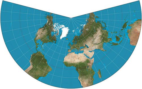 Lambert conformal conic projection with standard parallels at 20N and 50N (image from Wikimedia Commons).