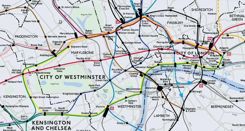 topographical map of the london underground network