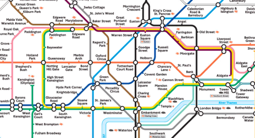 Topological map of the London Underground network