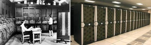 Left: ENIAC, circa 1950. Right: SGI Altix ICE 8200EX (ICHEC computer called Stokes).