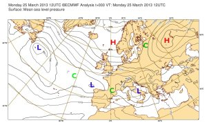 Sea-level pressure analysis from ECMWF, valid Monday 25 March 2013 1200Z. Some highs, lows and cols are marked.