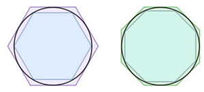 Hexagons and octogons within and around a circle.
