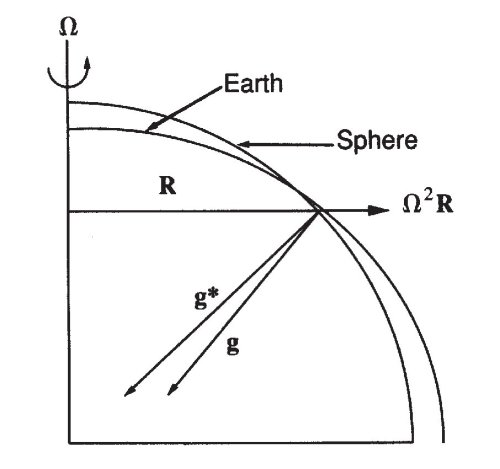 The apparent gravity is comprised of two parts, Newtonian gravity and the centrifugal force. This force is perpendicular to the surface of the spheroidal earth.