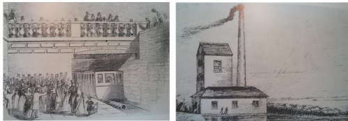 Left: train leaving Kingstown. Right Pump-house at the Dalkey terminus [from Hadfield]