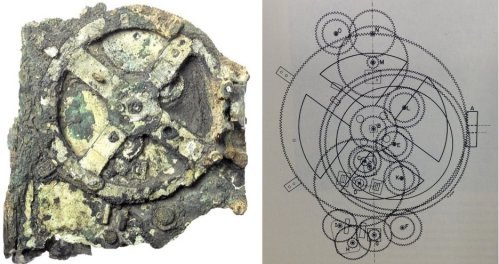 Left: Fragment A of the Antikythera Mechanism. Right:  Diagram of the gearing of the AM  (courtesy of the Adler Planetarium, Chicago).