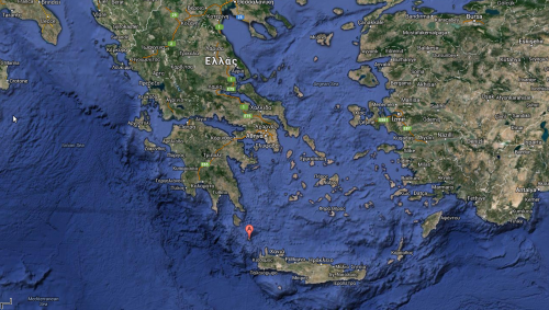 Antikythera, between Crete and the Greek mainland (google maps).