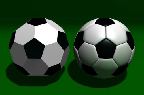 Football based on the truncated icosahedron [image from Wikimedia Commons].