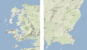 Contrasting character of the NW and SE coasts (from Google Maps).