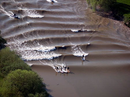 Surfers on the Severn bore (photograph by Mark Humpage, with thanks)