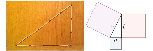 Left: Right-angled triangle with sides of length 3, 4 and 5, made from 12 matches. Right: General Pythagorean triangle.