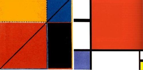 Left: Diagram from Byrne's Euclid. Right: Composition by Piet Mondrian.