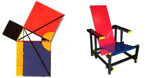 Left: Oliver Byrne's diagram (1847) for the Theorem of Pythagoras. Right: Gerrit Rietveld's Red and Blue Chair, 1918.