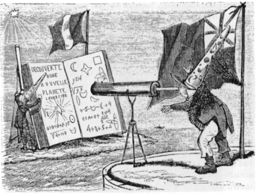 Controversy over who first predicted Neptune: a French cartoon showing Adams spying on Leverrier.