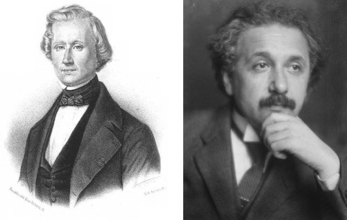 """LEFT: Urbain Le Verrier. French physicist François Arago described him as """"the man who discovered a planet with the point of his pen"""". RIGHT:  Albert Einstein (1879-1955) photographed in 1921 [Image Wikipedia]."""