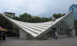 Warszawa Ochota railway station, a hypar structure [Image Wikimedia Commons].
