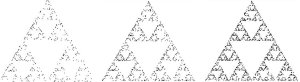 The Chaos Game for three points at the vertices of an equilateral triangle. Output after 500, 1000 and  2000 steps.