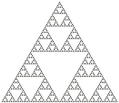 Sierpinski Gasket constructed by plotting only odd entries in first 4 rows of Pascal's Triangle.