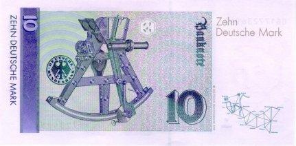 10 Deutschmark currency note (reverse).