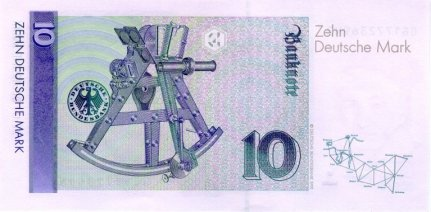 10 Deutschmark currency note (reverse).