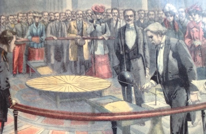 Reconstruction of Foucault's demonstration in 1902 (illustration from the cover of WIlliam Tobin's book [1]).