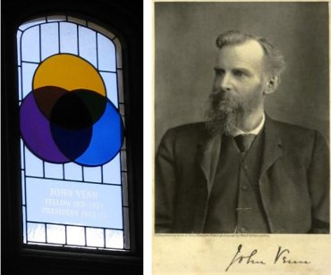 RIght: John Venn (1834–1923) with signature. Left: Stained glass window at Gonville & Caius College showing Venn diagram [images Wikimedia Commons].