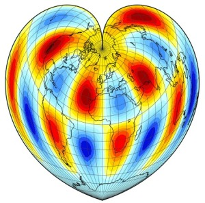 Plot of a vorticity field on a Werner Projection.