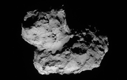 Comet 67P/Churyumov-Gerasimenko on 11 August 2014. The landing site is on the smaller knob, near the top of the image. Photo copyright ESA.