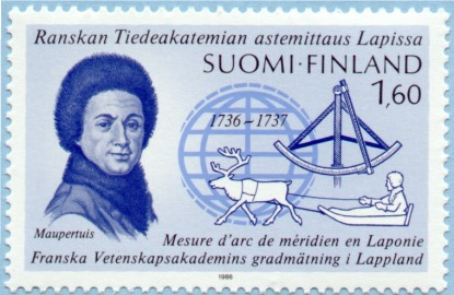 Finnish postage stamp featuring an image of Maupertuis, issued to commemorate 153 the 250th anniversary of the French Geodetic Mission to Lapland.