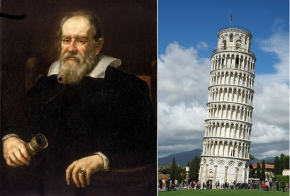 Left: Galileo. Right: The Leaning Tower of Pisa