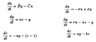 Left: Equations of Vallis' model. Right: the Lorenz 3 equation model.