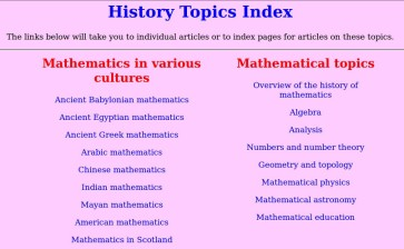 Screen image of the MacTutor page listing History Topics.