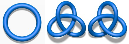 Simple knots. On the left is the unknot. Centre and right are a trefoil knot and its mirror image.
