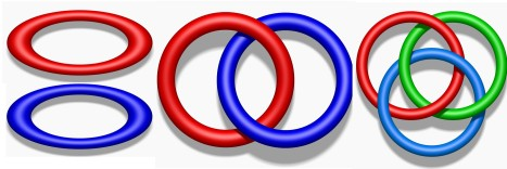 Simple links. Left: the unlink. Centre: the Hopf link. Right: the Borromean rings.