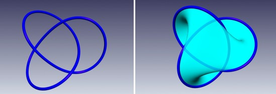 The trefoil knot (left) is a simple overhand knot with the ends joined. There are left-handed and right-handed versions, which are not equivalent. Right: a Seifert surface is a smooth compact connected and non-self-intersecting surface whose only boundary component is the trefoil knot.