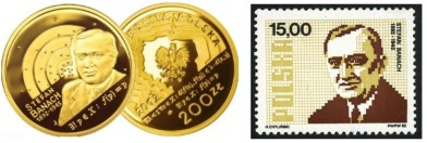A coin and a postage stamp commemorating Stefan Banach.