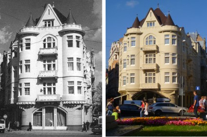 The Scottish Café, Lvov in earlier times (left), now Hotel Atlas in Lviv.(image Wikimedia Commons).