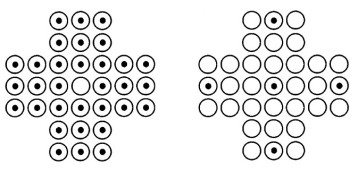 Initial position (left) and the five possible final positions (right).