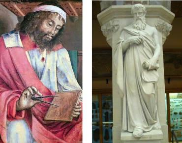 Euclid. Left: panel from the Series Famous Men by Justus of Ghent. Right: Statue in the Oxford University Museum of Natural History.