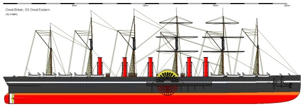 The SS Great Eastern, captained by Robert Halpin, that laid Transatlantic telegraph cables. Image from http://www.shipbucket.com