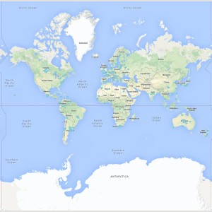 Web Mercator projection of the world [from \url{maps.google.com}].