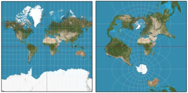 Left: Normal Mercator projection. Right: Transverse Mercator projection, tangent along Greenwich meridian and date line.