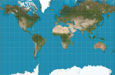 Mercator projection of the Earth, truncated at 75 degrees North and South [Wikimedia Commons, author: Strebe].