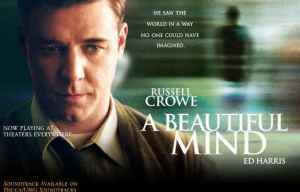 Russell Crowe as John Nash in the movie A Beautiful Mind.