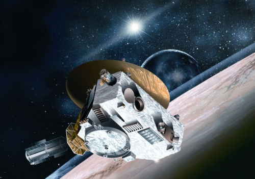 Artist's impression of the New Horizons probe at Pluto flyby [NASA image].