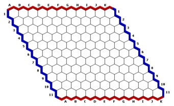 11 x 11 Hex Board. Image from  http://www.iggamecenter.com/