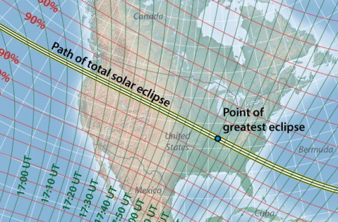 Path of totality of solar eclipse, Monday 21 August 2017 [Image downloaded from http://eclipse-maps.com/Eclipse-Maps/Gallery/Pages/Total_solar_eclipse_of_2017_August_21_files/Media/TSE2017_stereographic/TSE2017_stereographic.jpg ]